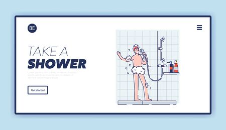 Man sing in shower white bathing in bathroom. Happy guy in foam using shower as microphone 向量圖像