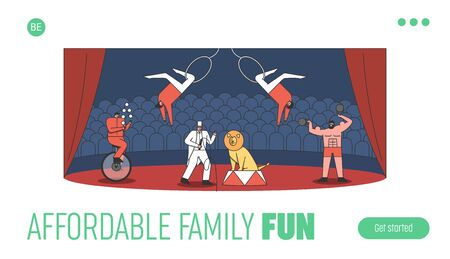 Landing page with circus arena and cartoon juggler, tamer with lion, strongman and acrobat