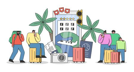 Travel application concept. Group of tourists making booking and reservation for vacation online
