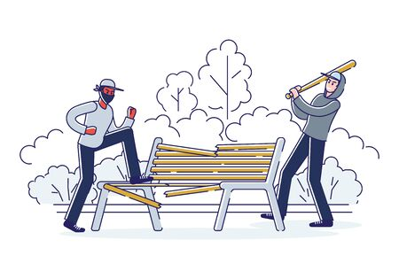 Vandals damaging bench in public park. Bandits in masks and hoods destroy city property