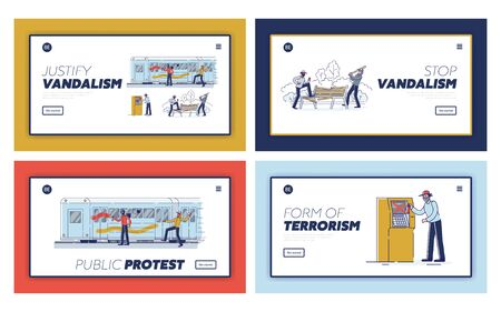 Set of landing pages with vandals damaging public property. Street vandalism and hooliganism concept
