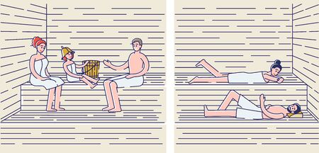 People relaxing in finnish sauna or russian banya. Relaxed men and women in towels enjoy spa. Activity for healthcare, wellness and recreation concept. Cartoon linear vector illustration