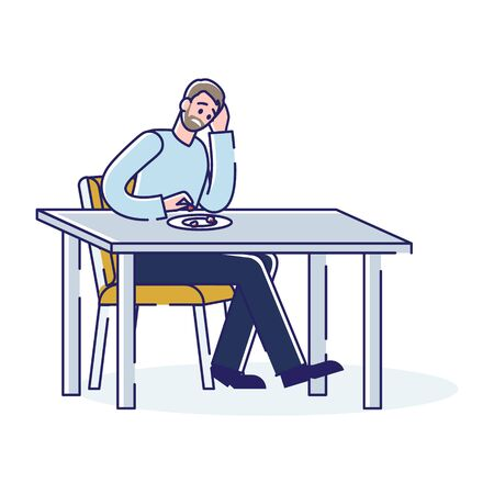 Poor man eating last food. Depressed male character after bankruptcy or loosing job tired and sad sit at table with empty plate. Unemployment and financial problem concept. Linear vector illustration Illustration