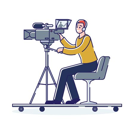News videographer cameraman filming reportage or studio with professional camera sitting