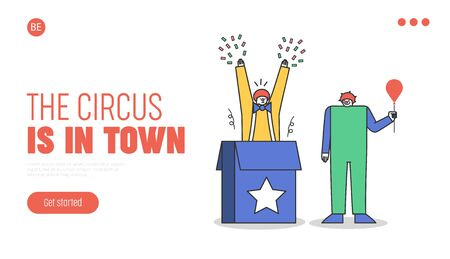 Circus landing page for website with funny clowns in colorful costumes jumping out of box