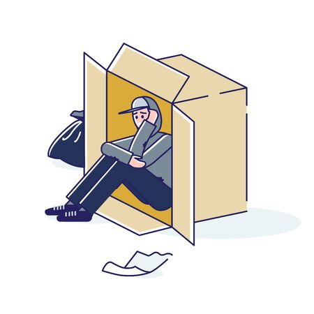 Young homeless man living on street in cardboard box. Cartoon character need help Vector Illustratie