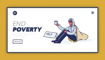 Landing page with poverty concept and homeless african american man begging for money Vectores