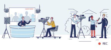 News production process. Presenter studio, journalist report, operator, cameraman