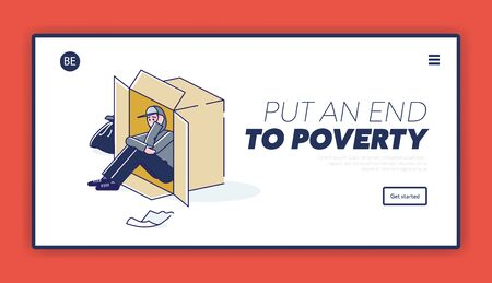 Homeless man living on street in cardboard box. Put end to poverty landing page design