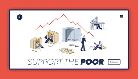 Landing page with support poor people concept. Homeless, jobless and bankrupt characters background
