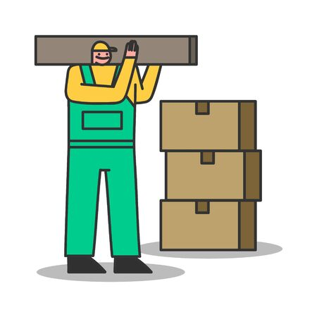 Delivery man carry carton boxes. Courier and loader for home moving and shipment service. Cartoon male character in uniform mailman or warehouse worker. Flat vector illustration Иллюстрация