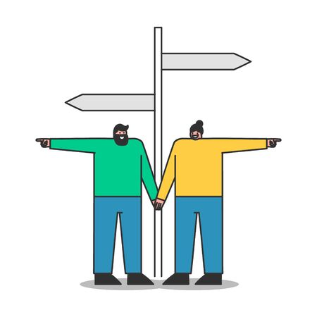 Confused people standing at road sign choosing direction. Lost man and woman make decision at pathway crossroad. Cartoon characters choose different ways. Flat vector illustration
