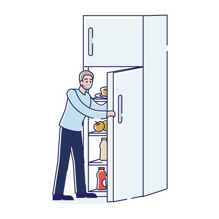 Man opening fridge. Adult cartoon character at open freezer for meal over white background. Home kitchen appliance and food concept. Line art vector illustration