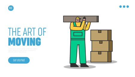 Home relocation company landing page. Delivery man carry and loading cardboard boxes for home moving. Fast removal service website design element. Flat vector illustration