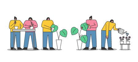 Women taking care of houseplants - replanting and watering flowers. Indoor gardening hobby concept. Cartoon characters working with plants for home. Flat vector illustration