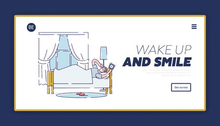 Morning waking up landing page with sleepy man in bed turning out alarm clock. Good day beginning concept. Cartoon male bedroom. Linear vector illustration