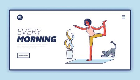 Every morning activity landing page with cartoon woman exercising yoga at home. Female doing stretching and breathing workout routine at day beginning. Linear vector illustration