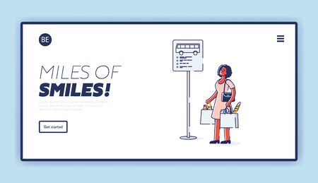Woman waiting for bus. Template landing page design. African american passenger standing at road sign with bus timetable near road. City public transport concept. Linear vector illustration