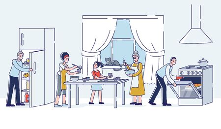 Big family cooking together at home kitchen. Three generation family preparing food. Grandparents, mother, father and daughter making dishes for dinner. Linear vector illustration Çizim