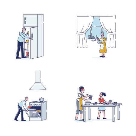 Cartoon characters cooking - family members preparing food. Grandparents, parents and daughter with cooking appliances and utensils making dishes. Home culinary concept. Linear vector illustration Çizim