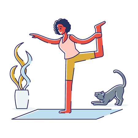Woman exercising yoga at home in morning. Meditation practice. Cartoon female doing stretching and breathing workout. Healthy lifestyle and fitness activities concept. Linear vector illustration