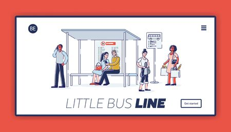 Landing page with group of people on bus station. Diverse cartoon characters waiting for bus on station with bench and timetable. Urban municipal transportation company. Linear vector illustration