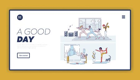 New day beginning landing page with different people at home, waking up, doing yoga, exercising. Enjoy every morning banner template. Linear cartoon vector illustration