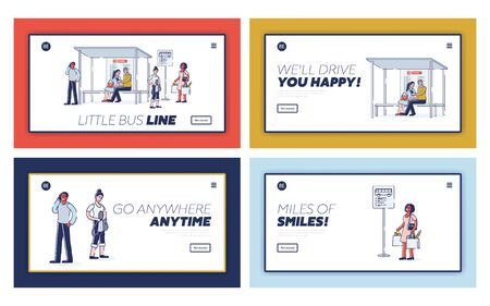 Bus station landing pages set. Template backgrounds for website with people waiting for municipal bus. Urban transportation and public transport concept. Linear vector illustration