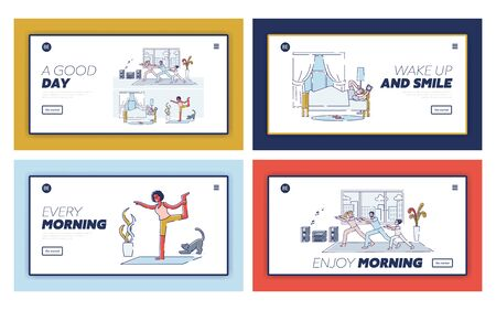 Set of landing pages with morning activities - people waking up, doing yoga and stretching at home, family exercising together in living room. New day beginning concept. Linear vector illustration Stock Illustratie