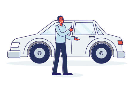 Man car dealer showing new auto for purchase or rent. Vehicle sale service seller african american salesman over linear automobile background. Cartoon vector illustration