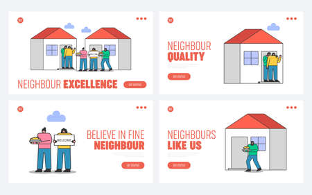 Suburb and neighborhood website landing pages set with neighbors welcoming and greeting new people