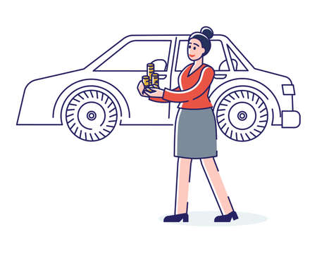 Car rent service or buying. Business woman with golden coins standing at car