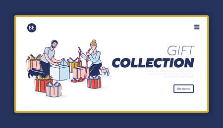 Gifts shop landing page template with man and woman packing present and wrapping boxes in decorative paper with colorful ribbons. Celebration event concept. Linear vector illustration Ilustrace