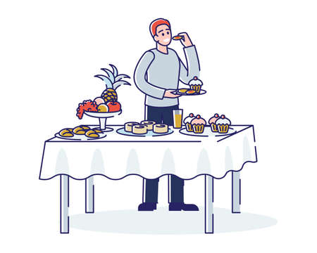 Buffet catering. Man standing at table served with sweet desserts and eating tasty food
