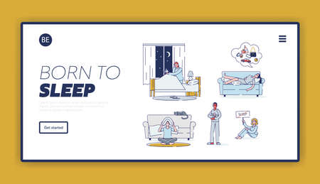 Insomnia landing page with set of people suffering from sleeplessness. Sleepless cartoon characters Illustration