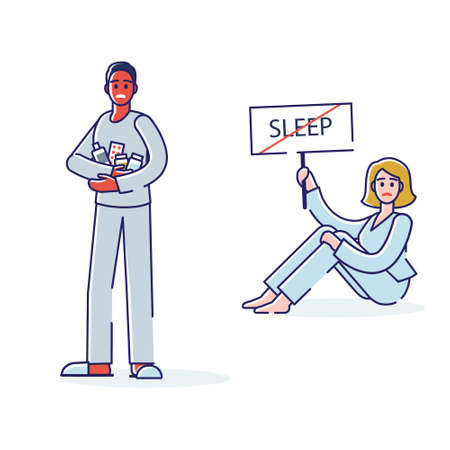 Woman suffering from insomnia. Poor sleepless woman staying wakeful night and day Vector Illustration