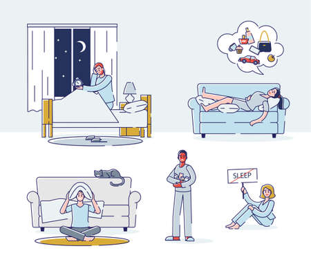 Set of people suffering from insomnia. Cartoon characters could not sleep at night