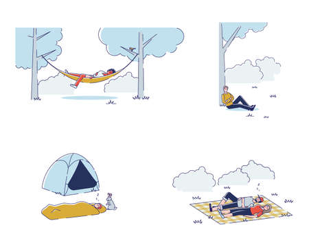 Set of people sleeping outdoors. Men and women relaxing while picnic in park or hiking travel