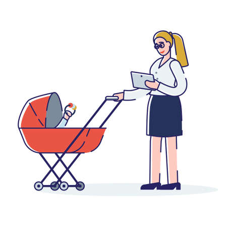 Business woman with pram. Young mother businesswoman working on tablet with toddler child