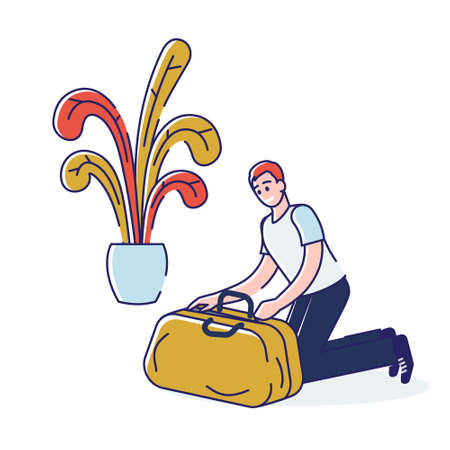 Man packing. Young cartoon guy closing suitcase with clothes and essentials for travel Vecteurs