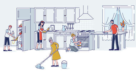 Family cleaning kitchen together. Parents, grandmother and kids doing housework