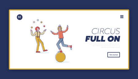 Circus landing page design with clowns performing juggling and balancing on ball
