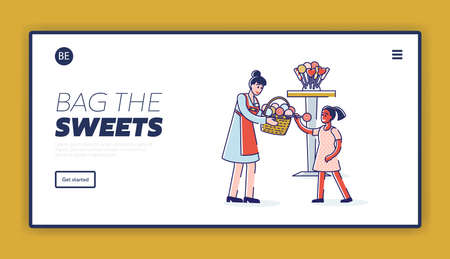 Landing page with candy shop female owner treating little girl with lollipop Ilustracja