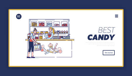 Candy shop website landing page with cartoon woman buying tasty candies in confectionary store