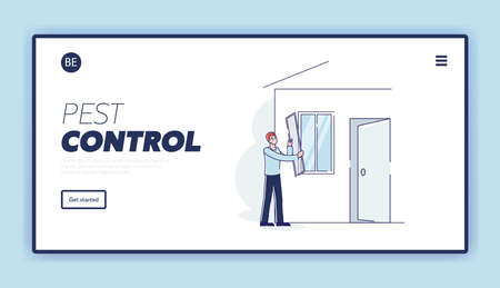 Pest control landing page with man putting mosquito net on window