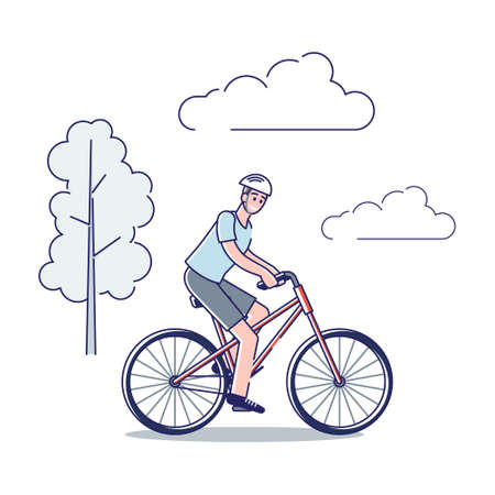 Man riding bike. Cartoon male character in helmet on bicycle riding outdoors Illusztráció
