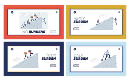 Burden landing pages set with people carry burden to mountain cliff and fall