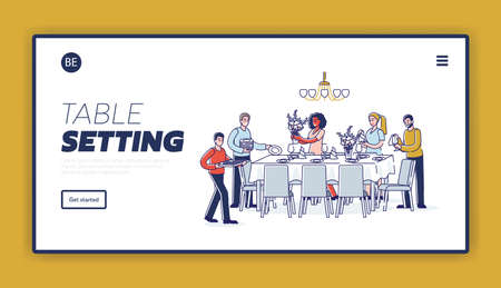 Table serving landing page with group of people preparing table for holiday dinner