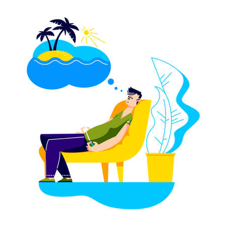 Man dreaming of vacation on tropical resort during staying home for quarantine Ilustracja