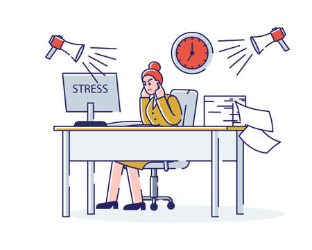Stressed businesswoman on workplace. Overloaded female office worker overworked